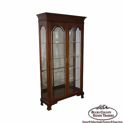 Traditional Oak Beveled Glass Lighted Display Curio Cabinet by Jasper