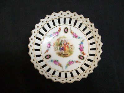 """Bavarian Porcelain Pierced Ring Dish Hand Painted 4"""" in Excellent Condition"""