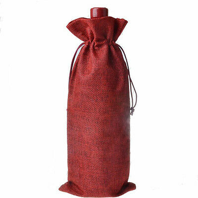 Linen Wine Bag Carrier Present Gift Holder Party Decor Drawstring Bags