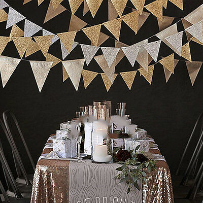 3M Gold Glitter Paper Flag Banner Pennant Bunting Festival Party Home Decor