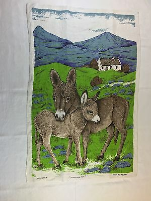 Vintage Irish Linen Donkey and Foal Print Tea Towel Green 100% Linen Ireland