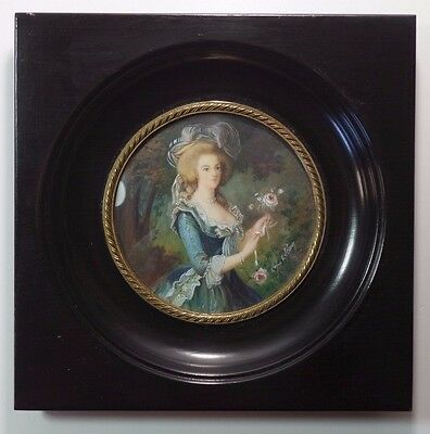 Antique French Hand Painted Portrait Miniature Young Lady Princess