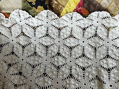 "VTG Crocheted Bedspread/Tablecloth 84X86"" Twin Full Queen Cream Heavy Cotton"
