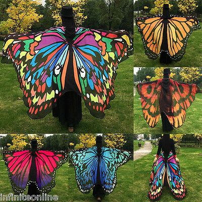 US Soft Fabric Butterfly Wings Fairy Ladies Girls Nymph Pixie Costume Accessory