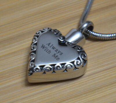Always With Me Heart Cremation Jewelry Pendant Urn Keepsake Memorial Necklace