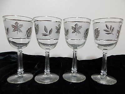 "VTG Wine Water Glasses Stemware Libbey Silver Leaf Frosted Tall 7.25"" 10 oz"
