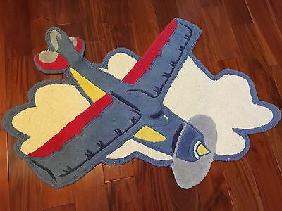 Pbk Pottery Barn Kids Boy Child Nursery Rug Airplane Plane Baby Wool Rug Carpet