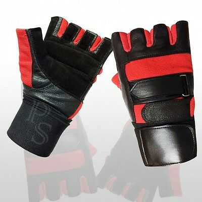 (Large) - Weight Lifting Gloves Leather Full Padded Prime High Quality Long Wris