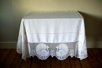 Vintage White Linen Tablecloth Hand Embroidered Flowers Crochet Lace Peacocks