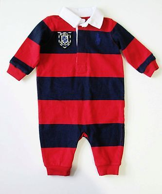 Ralph Lauren Baby Boys Striped Long Sleeve Coverall Red Multi Sz 3M - NWT