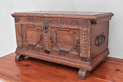 Small Mid 18th Century Dowry Chest, Chip Carved, Engraved and Dated 1752, W/ Key