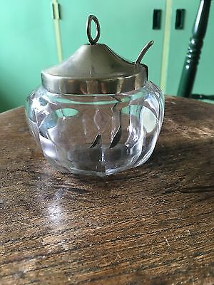Antique Cut Glass Mustard Jar With Spoon EPNS