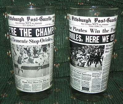Pittsburgh Pirates 1971 World Series Champs Pittsburgh Post Gazette Glass Set 2