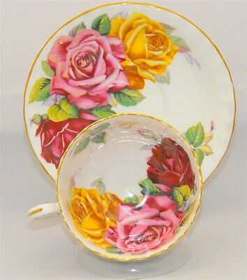 Aynsley RARE Humongous Pink Burgundy and Yellow Roses Bone China TeaCup & Saucer