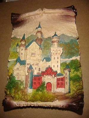 """Neuschwanstein Castle Made In Germany Chalkware  3 7/8""""W X 5"""" 3D Highly Detailed"""