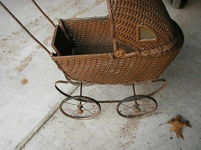 Antique Baby Doll Carriage Pram Wicker Rattan Metal c.1910