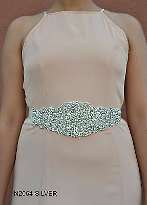 Bridal wedding sash belt silver rhinestones crystal beads ivory satin ribbon.