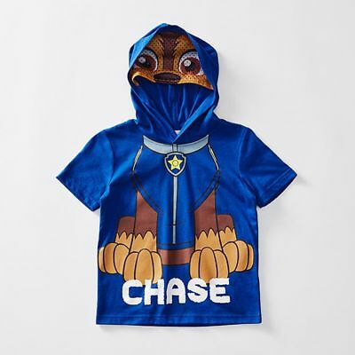 NEW Paw Patrol Chase Mask Hooded T-Shirt Kids