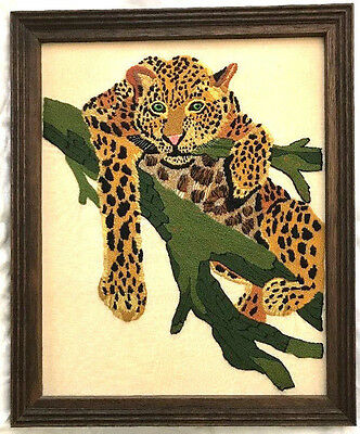 Vintage Embroidered Leopard Framed Picture  18 x 22    Crewel Needle Point Print