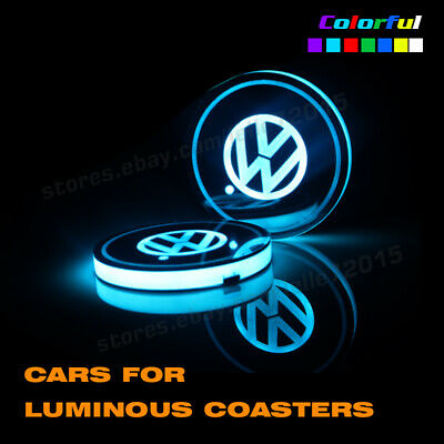 USB Charger Car Cup Holder Map LED Light Switchable 7 Colors For Volkswagen VW