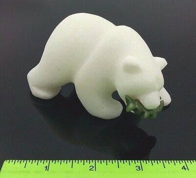 "Star Marble Polar Bear with Jade Fish Figurine Sculpture 4"" 12.3 oz"
