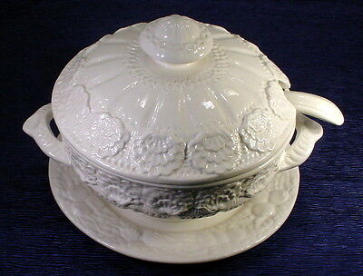 HUGE White Vintage Made in Italy Soup Tureen With Under Plate & Ladle