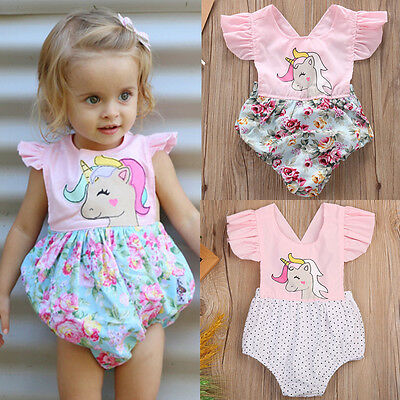 Infant Baby Girl Floral Unicorn Romper Bodysuit Jumpsuit Outfit Summer Clothes f