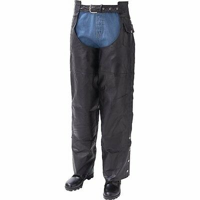 Mens Womens Buffalo Leather Motorcycle Rider Riding Biker MC Gear Pants Chaps