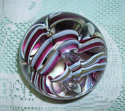 "Signed Glass Paperweight Ribbon Design Burgundy & White 2 1/2"" Diameter"