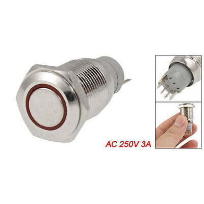 Push Button Switch Red LED Light For Cars Auto 12V 3A X9H8