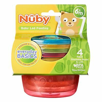 Nuby Baby / Child / Kids Stackable Bowls With Lids - Set Of 4