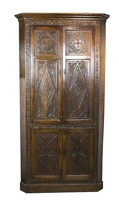 Antique Corner Cabinet | Vintage Corner Cabinet | Carved Oak | 1870 | B460