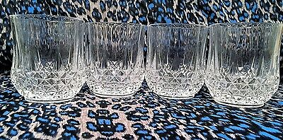"""4  Longchamp Cut Crystal Double Old Fashioned Glasses~Cristal D'Arques 3 & 3/4"""""""