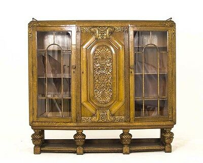Art Deco Cabinet | English  Cabinet | English Three Door Bookcase | B708