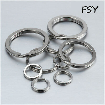keychain stainless steel Flat opening  double ring key ring Keychain 15mm-38mm
