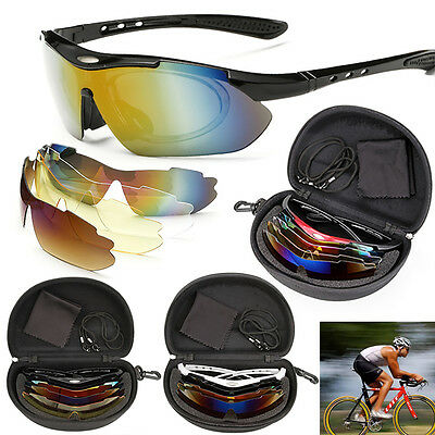 Polarized Sports Cycling Bike Bicycle Sunglasses UV400 5 Lens Goggles Glasses