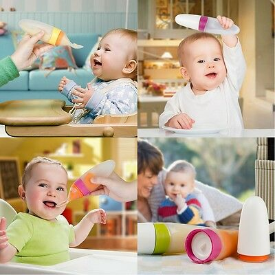 Practical Baby Kids Infants Toddler Boon Squirt Silicone Food Dispensing Spoon