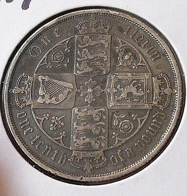 Great Britain Queen Victoria Florin, Two Shillings, 1885. Spink 3900