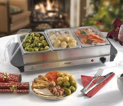 Cooks Professional 3 Section 3L Capacity Easy To Use Buffet Warmer and Hotplate