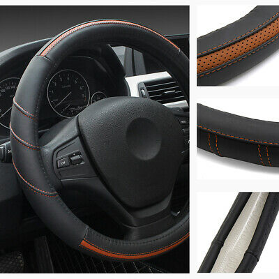 "15"" Leather Steering Wheel Cover Breathable Anti Slip Odorless Brown For BMW"
