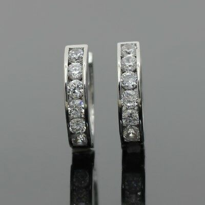 Channel Set Simulated Diamond Silver Surgical Steel Huggies Huggie Hoop Earrings