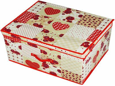 Patchwork Hearts Red Storage Box