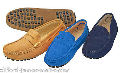 Gents 100% Suede Slip On Casual Loafers Moccasins Driving Shoes Leather Lining