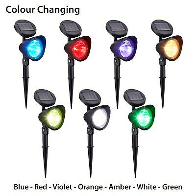 Solar Powered LED Colour Changing Garden Landscape Spotlight Twin Pack & Remote