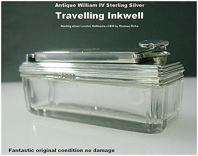 Sterling Silver Top Travelling Inkwell by Thomas Dicks Antique William IV c1836
