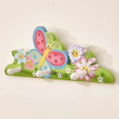 Fantasy Fields Childrens Magic Garden themed Kids Wooden Wall Hanger Hooks