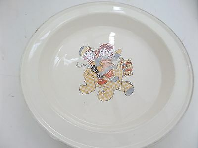 "Vintage 1941 CROOKSVILLE Raggedy Ann and Andy CHILD'S BOWL PLATE 8.5"" in dia"