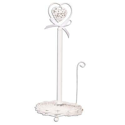Shabby Chic Style White Heart Rattan Paper Towel Kitchen Roll Pole Holder