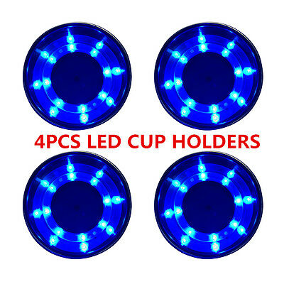 set of 4 Boat Stainless Steel Cup Drink Holder Blue LED Built-in Marine Truck RV