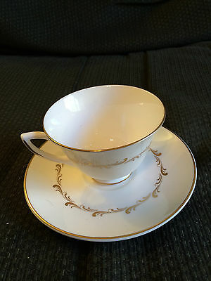 Vintage Royal Doulton Rondo Gold Scroll Fine China Tea Cup & Saucer Plate Set